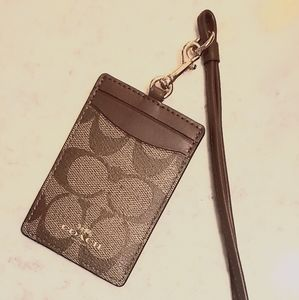 Coach Lanyard ID Holder Signature Canvas